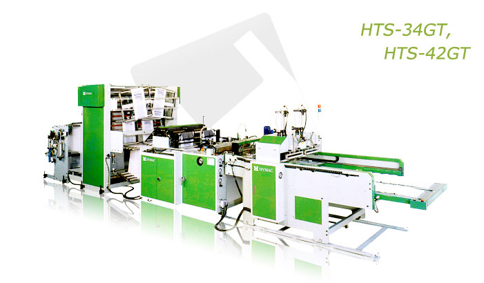 Fully automatic servo drive T-Shirt bag making machine with gusseting unit (HTS-34GT, HTS-42GT)