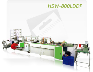 FULLY AUTOMATIC LOOP HANDLE, DIE-CUT, DRAW TAPE & PATCH HANDLE BAG MAKING MACHINE (HSW-800LDDP)